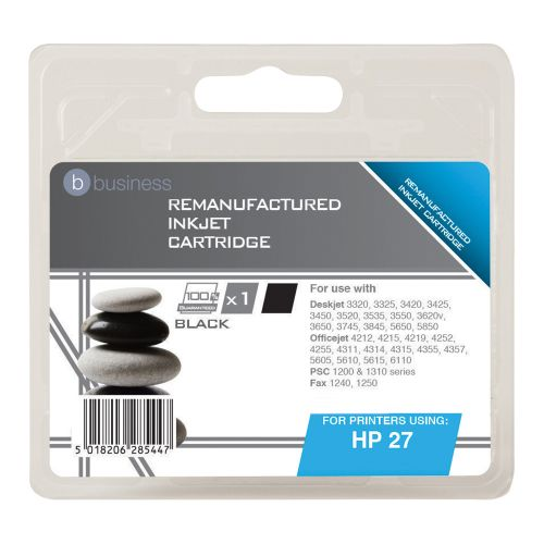 Business Remanufactured Inkjet Cartridge Page Life 280pp Black [HP No. 27 C8727A Alternative]