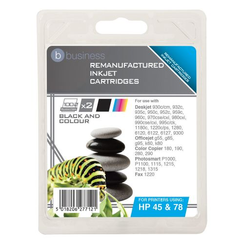 Business Remanufactured Inkjet Cartridge 833/450pp Black/Colour [HP 45/78 SA308AE][Pack 2]