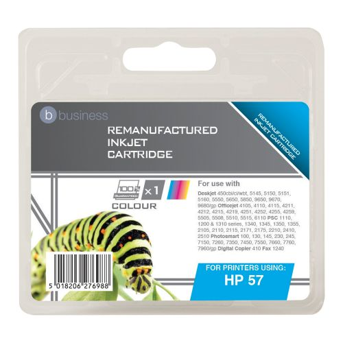 Business Remanufactured Inkjet Cartridge Page Life 390pp Colour [HP No. 57 C6657AE Alternative]