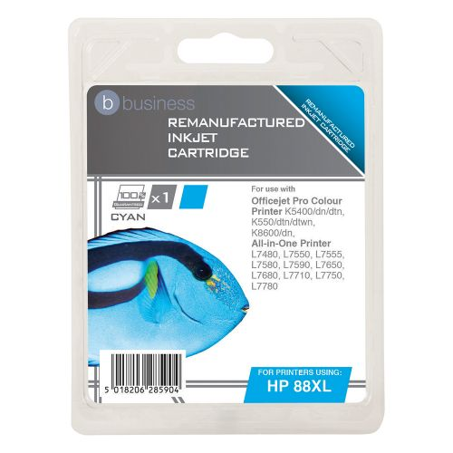 Business Remanufactured Inkjet Cartridge Page Life 1200pp Cyan [HP No. 88XL C9391A Alternative]