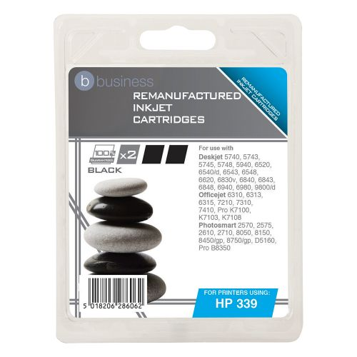 Business Remanufactured Inkjet Cartridge 1600pp Black [HP No.339 C9504EE Alternative] [Pack 2]