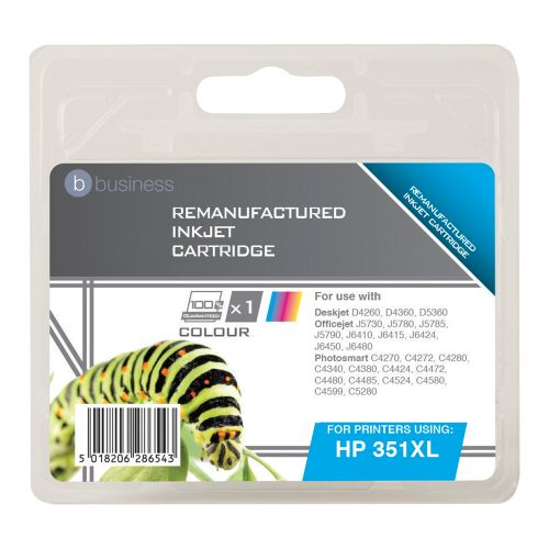 Business Remanufactured Inkjet Cartridge Page Life 580pp Colour [HP No. 351XL CB338EE Alternative]