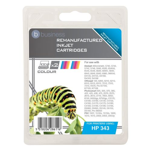 Business Remanufactured Inkjet Cartridge 520pp Colour [HP No 343 CB332EE Alternative] [Pack 2]