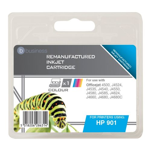 Business Remanufactured Inkjet Cartridge Page Life 360pp Colour [HP No. 901 CC656AE Alternative]
