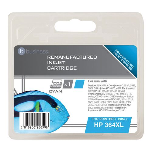 Business Remanufactured Inkjet Cartridge Page Life 750pp Cyan [HP No. 364XL CB323EE Alternative]