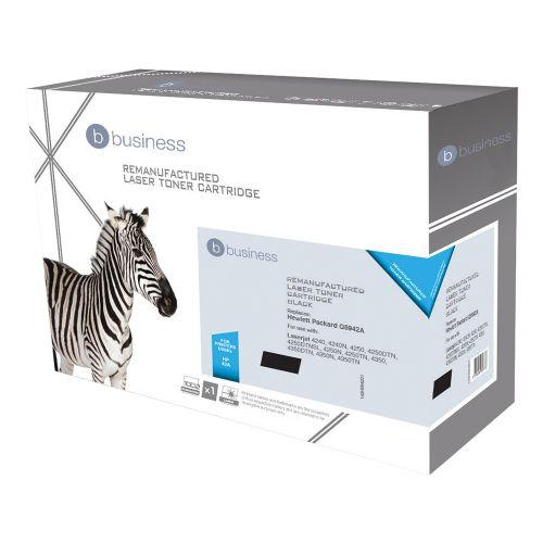 Business Remanufactured Laser Toner Cartridge 10000pp Black [HP No. 42A Q5942A Alternative]
