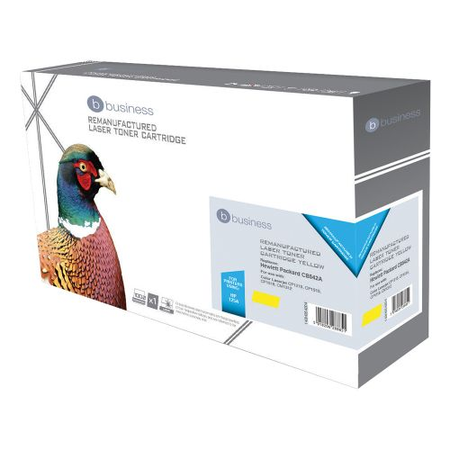 Business Remanufactured Laser Toner Cartridge 1400pp Yellow [HP No. 125A CB542A Alternative]