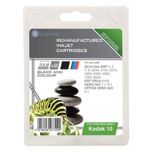Business Remanufactured Inkjet Cartridge Black and Colour [Kodak 10B/10C Alternative][Pack 2]