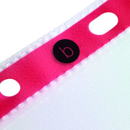 Business Punched Pockets with Reinforced Red Strip 75 Micron Side-opening A4 Clear [Pack 25]
