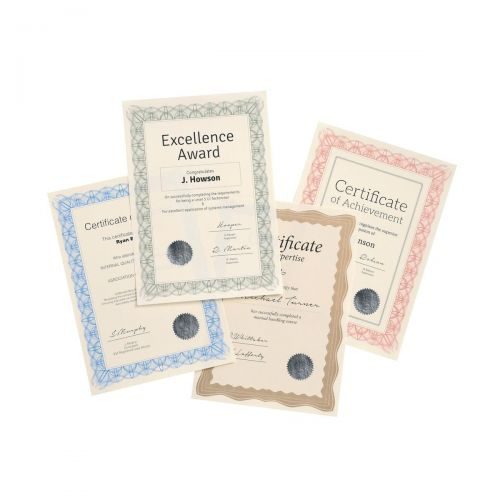 Certificate Papers with Foil Seals 90gsm A4 Reflex Red [Pack 30]