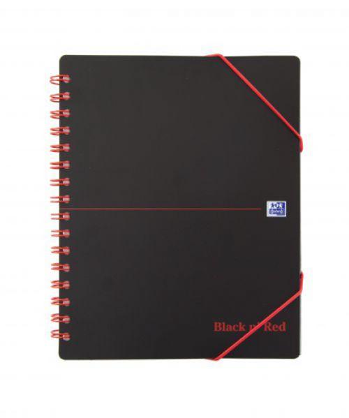 Black n Red Meeting Book Plastic Wirebound Rear Elasticated 3-Flap Folder A5plus Ref 100100893 [Pack 5]