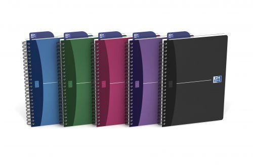 Oxford Office Notebook Wirebound Polypropylene A5 Random Colour Ref 100101300 [Pack 5]