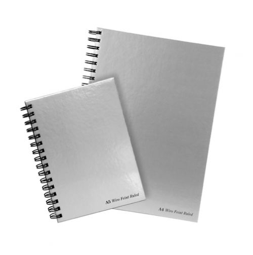 Pukka Pad Notebook Wirebound Hardback Perforated Ruled Margin 90gsm 160pp A4 Silver Ref WRULA4 [Pack 5]