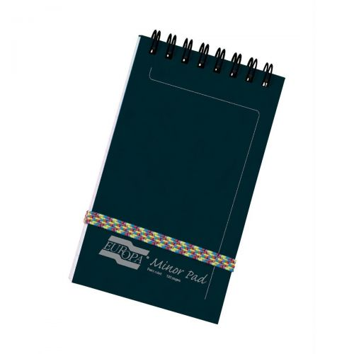 Europa Pad Twinwire Headbound Ruled 90gsm 120pp 127x76mm Black Ref 3012Z [Pack 10]