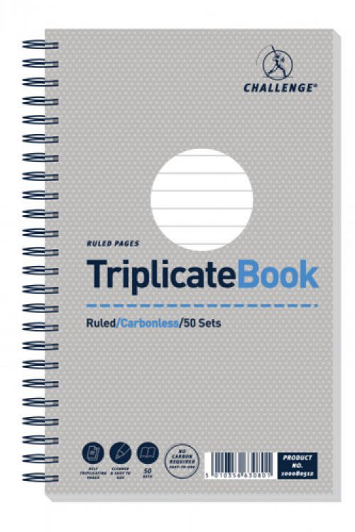 Challenge Triplicate Book Carbonless Wirebound Ruled 50 Sets 210x130mm Ref 100080512 [Pack 5]