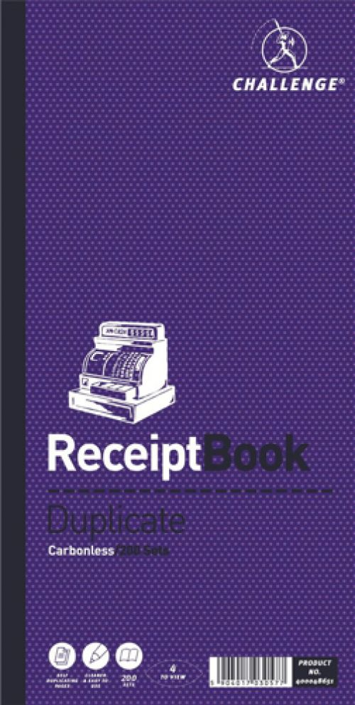 Challenge Duplicate Book Carbonless 4 Sets per Page 200 Receipts 240x141mm Ref 400048651