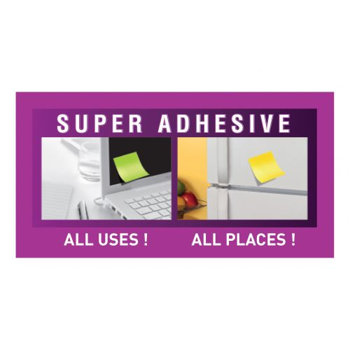 Post-it Super Sticky Colour Notes Pad 90 Sheets BoraBora 76x127mm Ref 655-6SS-JP [Pack 6]