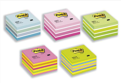 Post-it Note Cube Pad of 450 Sheets 76x76mm Pastel/Neon Pink Shades Ref 2040P