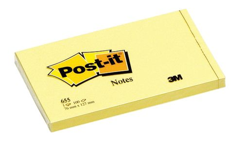Post-it Canary Yellow Notes Pad of 100 Sheets 76x127mm Ref 655YE [Pack 12]