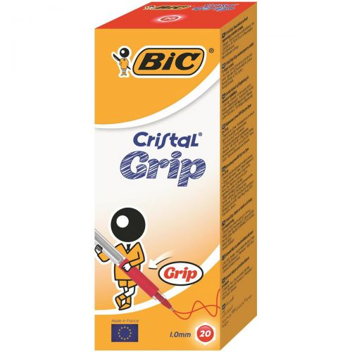 Bic Cristal Grip Ball Pen Clear Barrel 1.0mm Tip 0.4mm Line Red Ref 802803 [Pack 20]