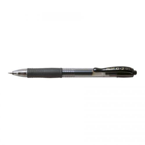Pilot G207 Gel Rollerball Pen Rubber Grip Retractable 0.7mm Tip 0.4mm Line Black Ref BLG20701 [Pack 12]