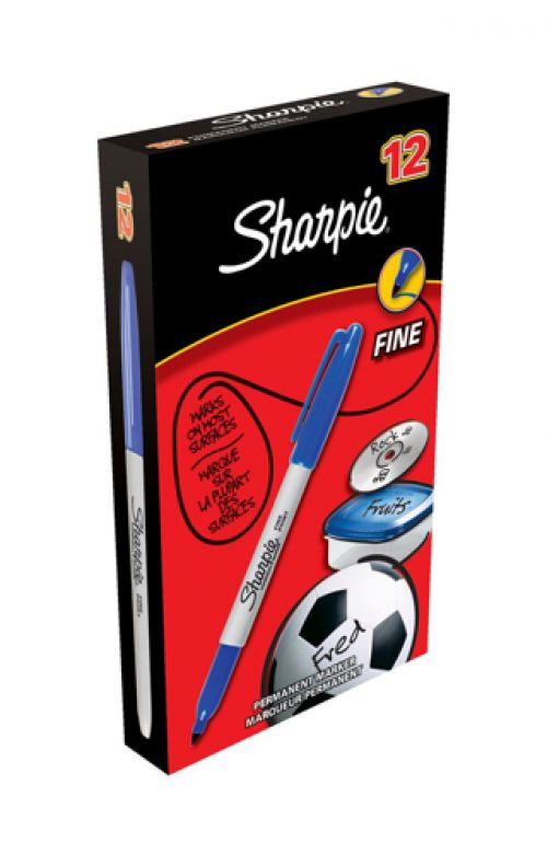 Sharpie Permanent Marker Fine Tip 1.0mm Line Blue Ref S0810950 [Pack 12]