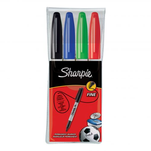 Sharpie Permanent Marker Fine Tip 1.0mm Line Assorted Ref S0810970 [Pack 4]