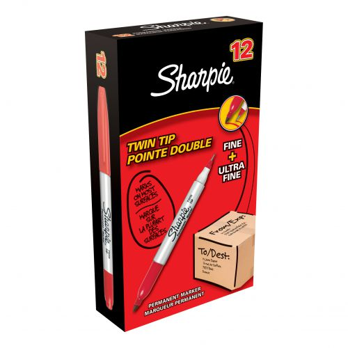Sharpie Twin Tip Permanent Marker Alcohol-based 1.5mm and 0.4mm Line Red Ref S0811110 [Pack 12]