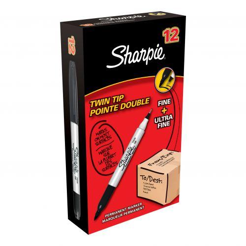 Sharpie Twin Tip Permanent Marker Alcohol-based 1.5mm and 0.4mm Line Black Ref S0811100 [Pack 12]