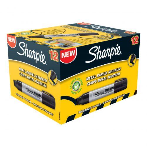Sharpie Magnum Metal Permanent Marker Large Chisel Tip 14.8mm Line Black Ref S0949850 [Pack 12]