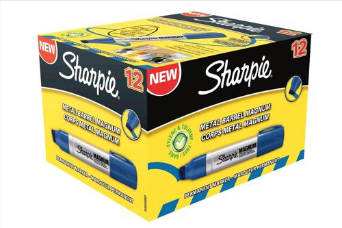 Sharpie Magnum Metal Permanent Marker Large Chisel Tip 14.8mm Line Blue Ref S0949860 [Pack 12]