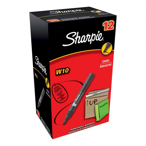 Sharpie W10 Permanent Marker Chisel Tip 1.2-5mm Line Black Ref S0192654 [Pack 12]