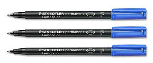 Staedtler 318 Lumocolor Pen Permanent Fine 0.6mm Blue Ref 318-3 [Pack 10]