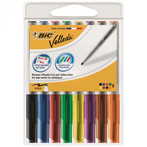 Bic Velleda 1741 Medium Bullet Tip Whiteboard Marker 1.4mm Width Assorted Ref 1199001748 [Wallet 8]