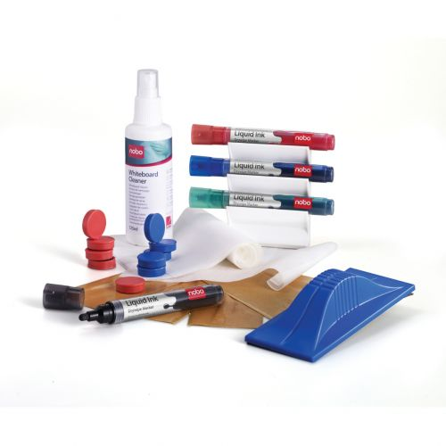 Nobo Whiteboard User Kit Eraser Refills 4 Markers Absorbent Cloths and Spray Cleaner 125ml Ref 1901430