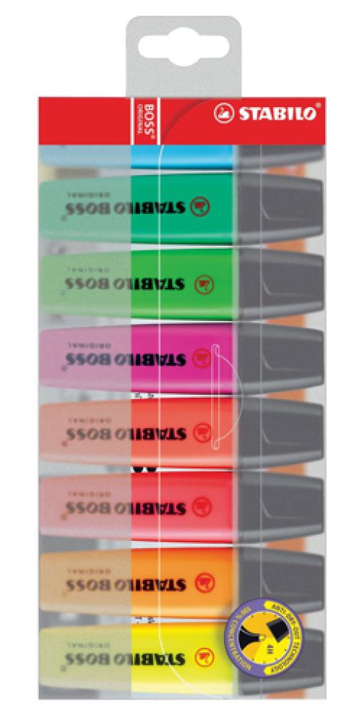 Stabilo Boss Highlighters Chisel Tip 2-5mm Line Assorted Ref 70/8 [Wallet 8]
