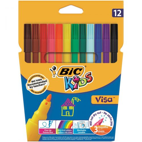 Bic Kids Visa Felt Tip Pens Washable Fine Tip Assorted Ref 888695 [Pack 12]