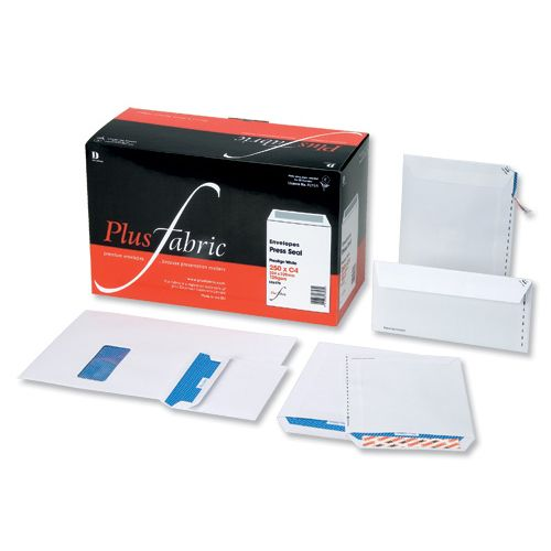 Plus Fabric Envelopes Wallet Press Seal Window 110gsm DL White [Pack 250]
