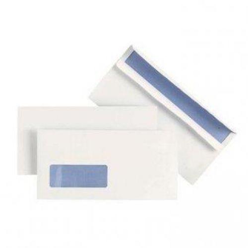 Plus Fabric Envelopes Wallet Press Seal Window 110gsm DL White [Pack 500]