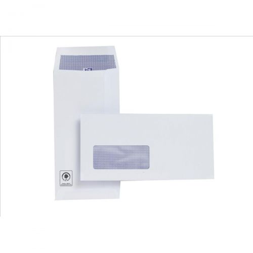 Plus Fabric Envelopes Pocket Press Seal Window 110gsm DL White [Pack 500]