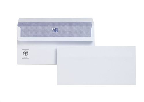 Plus Fabric Envelopes Wallet Press Seal 110gsm DL White [Pack 250]