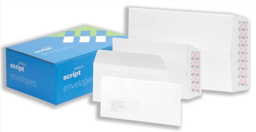 Croxley Script Envelopes Wallet Peal and Seal Pure White DL [Pack 500]