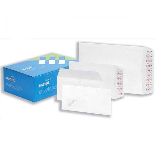 Croxley Script Envelopes Wallet Peel and Seal Window Pure White DL [Pack 500]