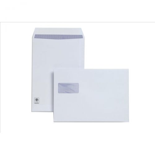 Plus Fabric Envelopes Pocket Peel and Seal Horizontal Window 120gsm C4 White [Pack 250]