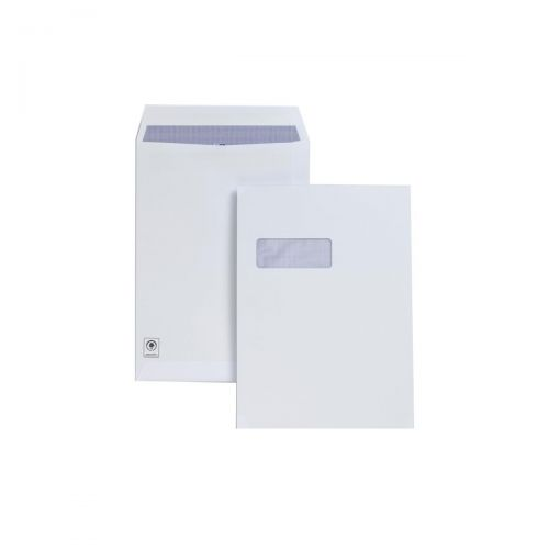 Plus Fabric Envelopes Pocket Press Seal Window 120gsm C4 White [Pack 250]