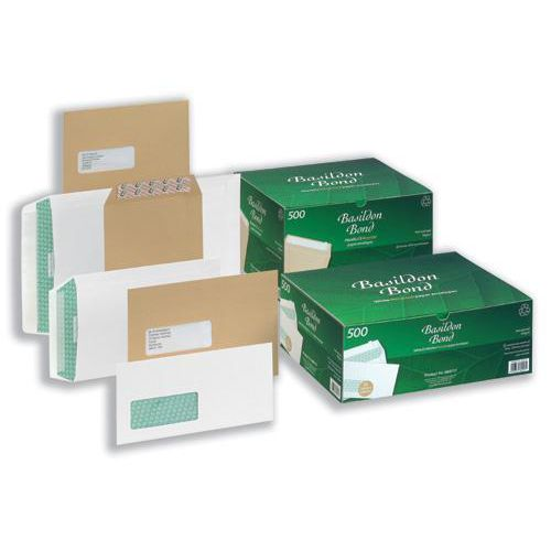Basildon Bond Envelopes Recycled Pocket Window Peel and Seal 120gsm C4 White Ref B80285 [Pack 50]