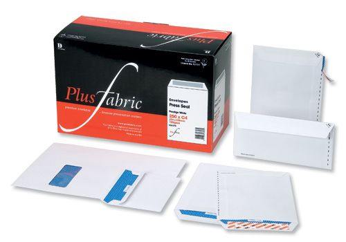 Plus Fabric Envelopes Wallet Press Seal 110gsm C6 White [Pack 500]