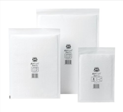 Jiffy Airkraft Postal Bags Bubble-lined Peel and Seal No.5 White 260x345mm Ref JL-5 [Pack 50]