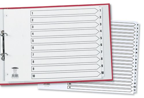 Concord Classic Index Mylar-reinforced Punched 4 Holes 1-20 A3 White Ref 04801/CS48