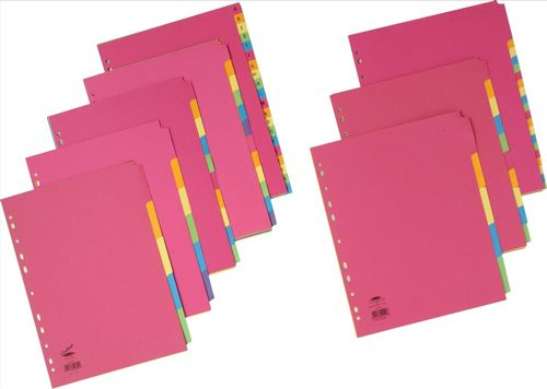 Concord Contrast Subject Dividers Europunched 5-Part A4 Assorted Ref 50699